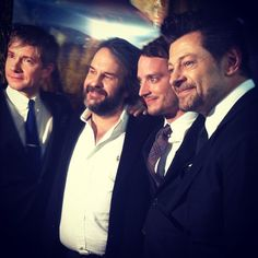 Martin Freeman, Peter Jackson, Elijah Wood, and Andy Serkis at one of #TheHobbit premieres.