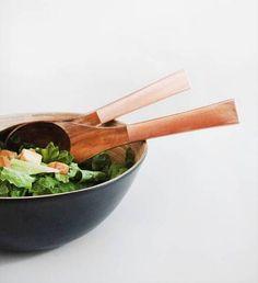 Copper salad servers.