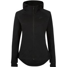 Nike Black Technical Fleece Hooded Windrunner Jacket ($120) ❤ liked on Polyvore featuring activewear, activewear jackets, nike, nike sportswear and nike activewear