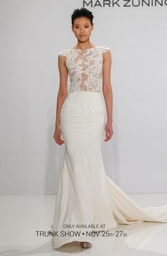 Illusion Sheath Wedding Dress  with Natural Waist in Silk. Bridal Gown Style Number:202