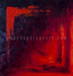 """Heat"" Red and indigo abstract oil painting on hardboard 38x40x1.75"" amandaphippsart.com"