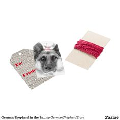German Shepherd in the Snow Holiday Gift Tag