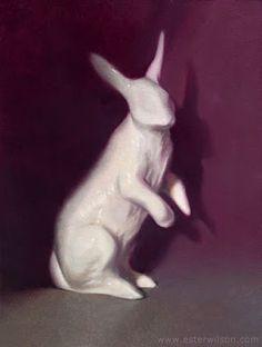 Oil painting of a ceramic white rabbit figurine by Ester Wilson - http://www.esterwilson.com