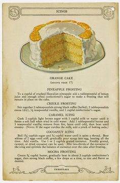 "did a post on February 2011 entitled "" Swans Down Vintage Recipe s"" which was about an old cookbook that contained lovely illustratio. Frosting Recipes, Cake Recipes, Dessert Recipes, Retro Recipes, Vintage Recipes, Cookbook Recipes, Cooking Recipes, Swans Down Cake Flour, Let Them Eat Cake"