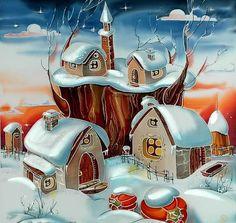 Christmas. Batik artist Olga Petrenko