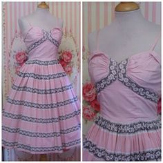 1950s Vintage Dress / Pale Pastel Pink / by RainbowValleyVintage