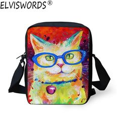 9ee807d7f305 ELVISWORDS Women Fashion Messenger Bags 3D Oil Painting Ladies Crossbody  Bags Cute Cat Girls Shoulder Bag