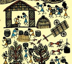 Warli painting Indian Artwork, Indian Folk Art, Indian Art Paintings, Worli Painting, Fabric Painting, Madhubani Painting, Diy Canvas Art, African American Art, Native Art