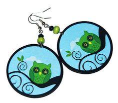 OWL.Birds Love birdsDecoupage earrings boho hippie by SzaraLotka, $15.00