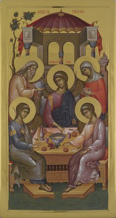 The Hospitality of Abraham is also the Icon of the All-Holy, Consubtantial and Undivided Trinity. Byzantine Icons, Byzantine Art, Religious Icons, Religious Art, Monastery Icons, Friend Of God, Greek Icons, Roman Church, Theme Pictures