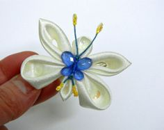 Blue Turquoise Butterfly Hair Clip Kanzashi by AllasOriginals