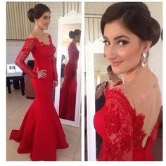 Elegant Red Long Lace Sleeves Backless Formal Evening Prom Party Dress Custom
