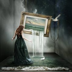 ocean water flows from picture frame, woman,  Photo Manipulations by Silvia15