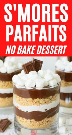 Getting the flavor of your favorite summer flavors has never been easier with thiseasy no cook s'mores parfaits recipe. This is the perfect no bake dessert recipe with only six ingredients! Summer Dessert Recipes, Easy No Bake Desserts, Party Desserts, Healthy Dessert Recipes, Layered Desserts, Party Recipes, Parfait Desserts, Parfait Recipes, Chocolate Parfait