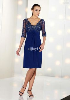 Free Shipping!New 2014 Gorgeous A-line Royal Blue Chiffon Knee Length Lace Appliqued Mother of the Bride Dress with V-neck
