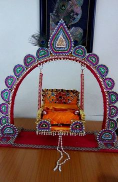 Get Janmashtami decoration ideas for your home. Learn new ways to make beautiful Krishna Janmashtami jhulas and rangoli designs for Janmashtami festival. Ganapati Decoration, Decoration For Ganpati, Arch Decoration, Diwali Decorations, Festival Decorations, Flower Decorations, Christmas Decorations, Altar, Janmashtami Decoration
