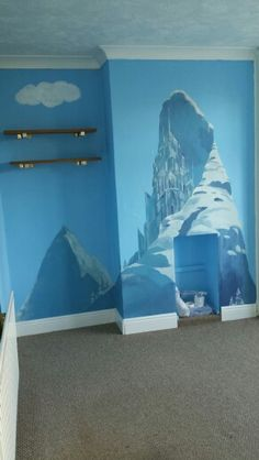 Queen Elsa's snow castle. FROZEN themed, hand painted wall mural by Linda Bernhard ❄ for my daughters bedroom ♡