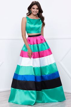 Two Piece Set, Long A-Line Prom and Evening Gown features Sleeveless, Cropped Top with Bateau Neckline and Scoop Open Back with Zipper Closure and Full Length Multicolor Skirt with Zipper Back Closure.