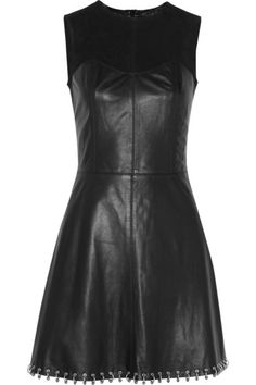Black leather Suede yoke, pleat at back of skirt, ring-embellished hem, seam details, fully lined Concealed zip fastening at back 100% leather (Lamb); lining: 97% cotton, 3% elastane Specialist clean