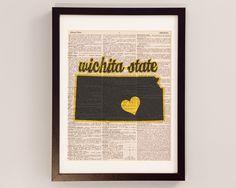 Wichita State Shockers Dictionary Art Print – Kansas Art – Print on Vintage Dictionary Paper – Wichita State University – Graduation Gift High Ceiling Decorating, Wsu Shockers, Decorative Ceiling Lights, Wichita State, Dictionary Art, Poster Prints, Art Prints, Decorating Tools, Graduation Gifts