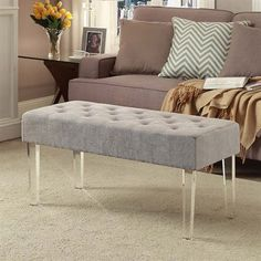 Convenience Concepts 163814AB Designs4Comfort™ Acrylic Leg Bench Ottoman Width:	17 inches Length:	35 inches Height:	18 inches $127