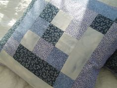 Blue patchwork cushion cover. £17.00, via Etsy.