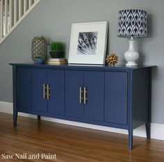 Indigo Blue Mid-Century Buffet by Saw Nail and Paint