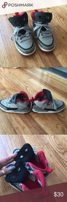 Kids Jordan Spizike Sneakers Gently worn. Grey, black and red. They are a little worn in the front as u can see in picture #1. Absolutely authentic!!! Jordan Shoes Sneakers