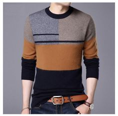 Coodrony Sweater Men Casual O-Neck Pull Homme Winter Thick Warm Wool Sweaters Plus Size Mens Winter Sweaters, Mens Fashion Sweaters, Sweater Shirt, Pullover Sweaters, Men Sweater, Wool Sweaters, Best Smart Casual Outfits, Gents T Shirts, Stylish Men