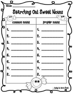 Common Nouns, Proper Nouns, and Plural Nouns Word