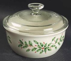 Lenox China Holiday (Dimension) 1.5 Quart Round Covered Casserole, Fine China Dinnerware by Lenox China. $19.99. Lenox China - Lenox China Holiday (Dimension) 1.5 Quart Round Covered Casserole - Dimension Shape,Holly,Berries,Gold Trim