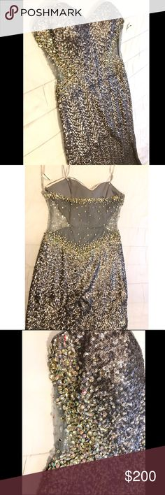 ✨Long Silver Sequins Prom Dress✨ Long silver sequins prom dress. Mesh fabric along the back and below the chest followed by gems throughout. La Femme Dresses Prom