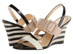 Kate Spade New York Isola Cream Nappa/Powder/Black Patent/Stripe Heel - Zappos Couture