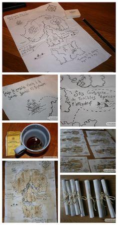 ☠ Anniversaire enfant thème pirate - Invitation carte au trésor - DIY ☠