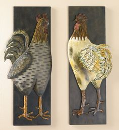 Metal Rooster Wall Plaques