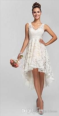 76a44c48a96c White Ivory V neck Hi-Lo Lace Wedding Dresses Beach Short Bridal Gown Size2