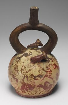 PRE-INCA. Example of extraordinary Moche pottery with fineline drawings and sculptural detail.