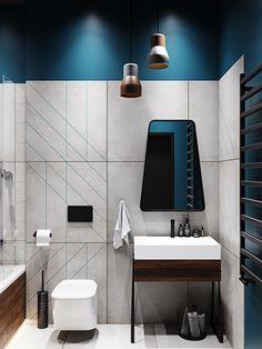 Choosing Townhouse in Modern Style Bathroom by Design Studio by Mariya Rubleva Is Simple - homemisuwur Washroom Design, Toilet Design, Modern Bathroom Design, Bathroom Interior Design, Scandinavian Bathroom Design Ideas, Bathroom Renovations, Home Remodeling, Muebles Home, Bathroom Styling