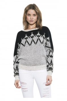 Christie Pullover by one grey day- An OGD twist on the classic fair isle pattern, Christie is a relaxed dolman pullover in a deconstructed tribal jacquard. Fair Isle Pattern, Pullover Sweaters, Graphic Sweatshirt, Black And White, Knitting, Grey, Sweatshirts, Long Sleeve, Fall 2015