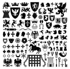 Huge Heraldry Shapes & Silhouettes Vector Pack - http://www.dawnbrushes.com/huge-heraldry-shapes-silhouettes-vector-pack/