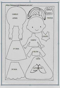 Elsa e Anna Frozen com moldes Felt Doll Patterns, Felt Animal Patterns, Quiet Book Patterns, Stuffed Animal Patterns, Elsa E Anna Frozen, Anna Und Elsa, Olaf Frozen, Frozen Ornaments, Felt Ornaments