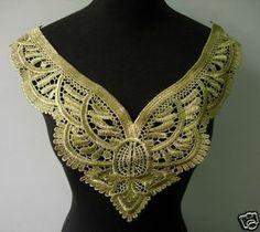 VK249 Vintage Collar Bodice Metallic Gold Lace Trim Venise Applique Motif | eBay