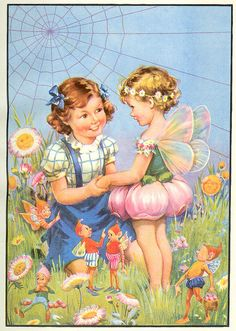 "Illustration taken from the book ""Bedtime Stories"", published by Birn Brothers Ltd. London. No date, illustrator not stated.  Story titled - 'She didn't believe in fairies'."