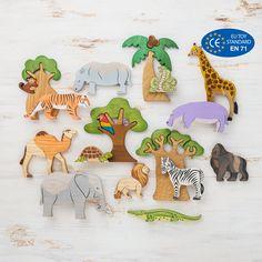 Safari small world play set - Wooden African animals play set Toy Safari animals and trees - Montessori Baby, African Animals, African Safari, Safari Animals, Baby Animals, Giraffe Figurine, Handmade Wooden Toys, Small World Play, Nature Table