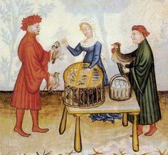 A poultry dealer selling pigeons, chickens, and eggs. Tacuinum Sanitatis, Vienna Austrian National Library, Cod Vindob. P n 2644, northern Italy in 1390, folio 67r.