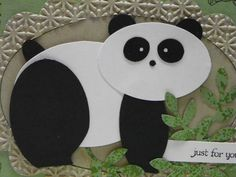 Panda Bear punch art - bjl : Head: Wide Oval Punch in Whisper White Ears: Paper Punch Art, Punch Art Cards, Craft Punches, Kids Birthday Cards, Kids Cards, Baby Cards, Animal Cards, Paper Piecing, Homemade Cards