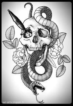 SKULL, SNAKE & DAGGER http://mad-smile.blogspot.fr/search/label/TATTOO