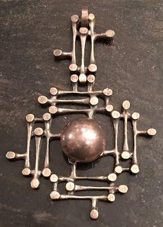 1975 Kultateollisuus Ky Finland Silver Modernist Pendant 19 Grams