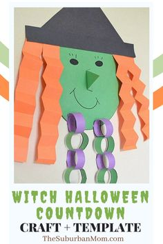 """""""I witch you a Happy Halloween!"""" It's time to count the days before the spooky season officially takes over! Check out the blog for more details on this Witch Halloween Countdown Craft + Template! This DIY craft is perfect for the season, and counts as a Halloween decoration, a Halloween craft, a craft idea for kids, a Halloween party decoration and a Halloween activity all rolled into one! With this, you can count the days before you get some free candy!"""