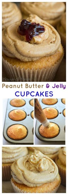 Peanut Butter & Jelly Cupcakes - enjoy all the classic flavors of a peanut and butter and jelly sandwich with this fun cupcake recipe for dessert! | houseofyumm.com for cupcakesandkalechips.com